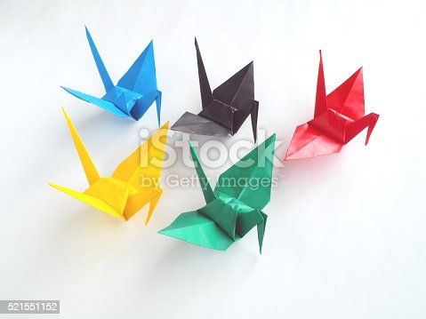 istock Paper Crane - Facing Right - 5 Color Origami 521551152