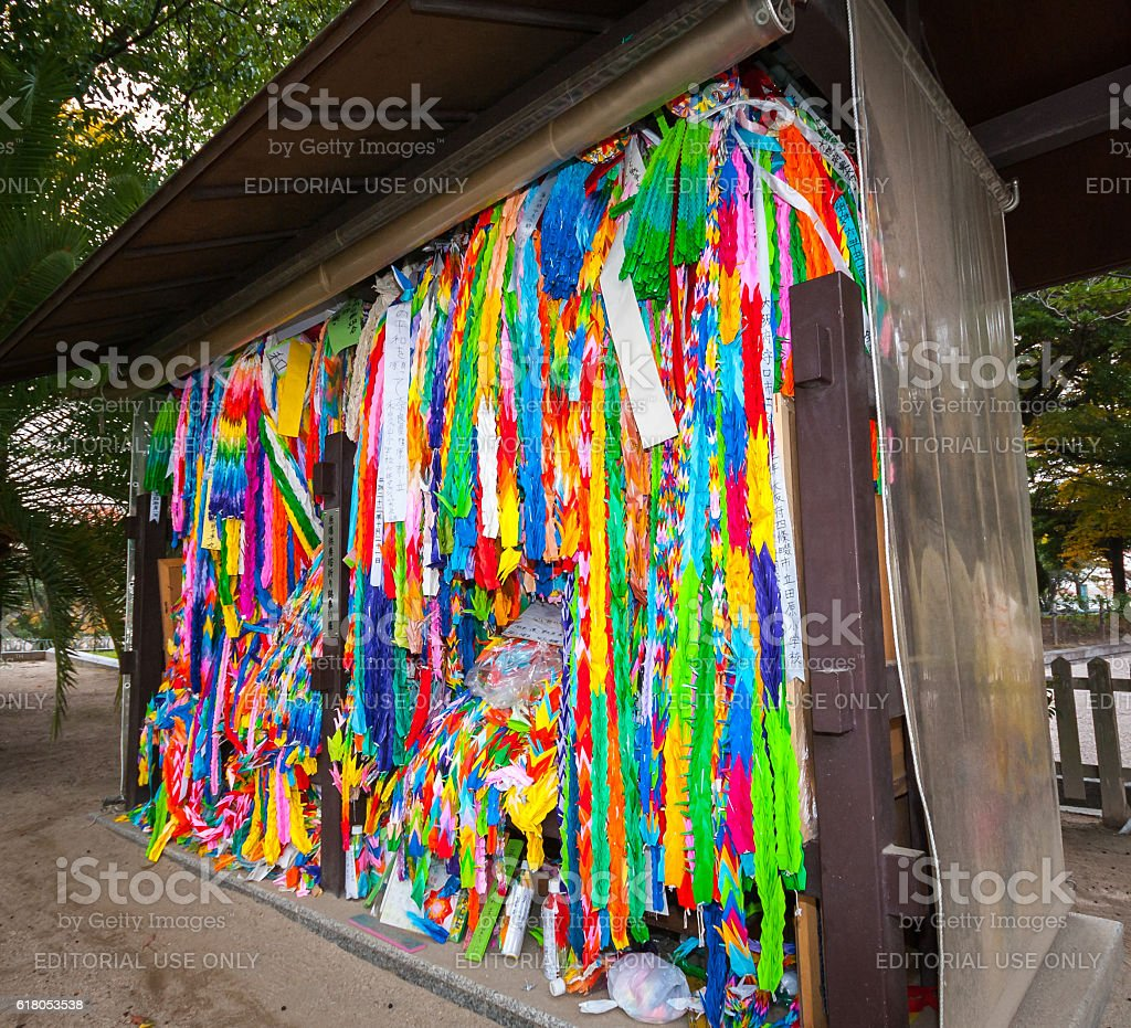 Paper cranes at Children's Peace Monument in Hiroshima Peace Park stock photo