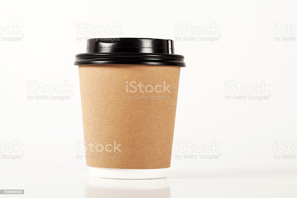 Paper cup of coffee on white background stock photo