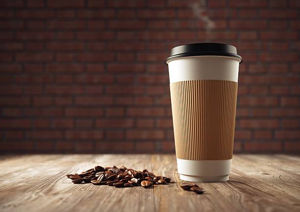 paper cup of coffee with coffee beans - paper coffee cup stock photos and pictures