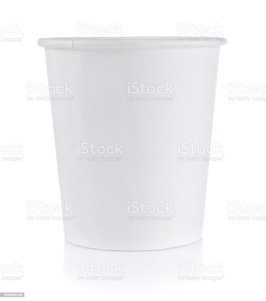 Paper cup on white background stock photo