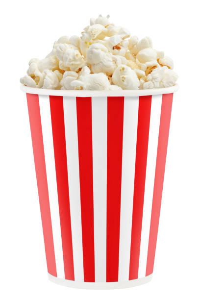 papieren beker met een popcorn op wit - popcorn stockfoto's en -beelden
