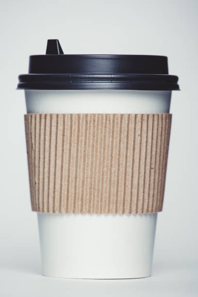Paper cup with cap stock photo