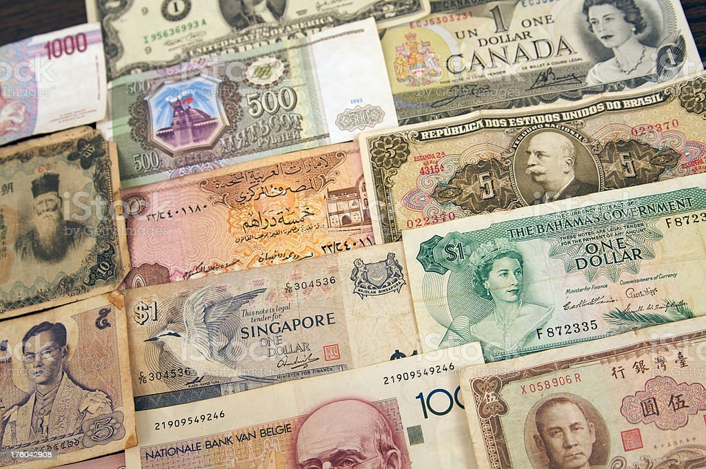 Paper Currency from around the world royalty-free stock photo