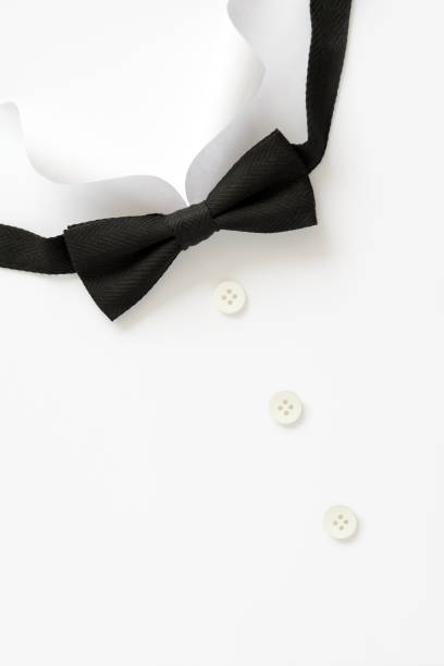 Paper cut collar of man shirts. Father's day or wedding concept. Copy space. Top view. Minimalist style stock photo