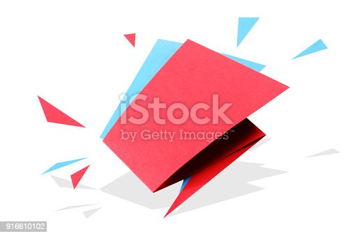 istock Paper cut geometric sale banner, special offer, discount. Origami Trendy Label tag template. Space text. 916610102