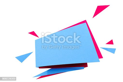 istock Paper cut geometric sale banner, special offer, discount. Origami Trendy Label tag template. Space text. 958226000