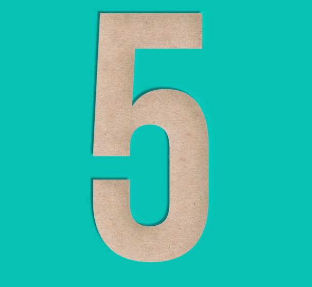 scherenschnitt nummer fünf 5 - 3d typografie stock-fotos und bilder