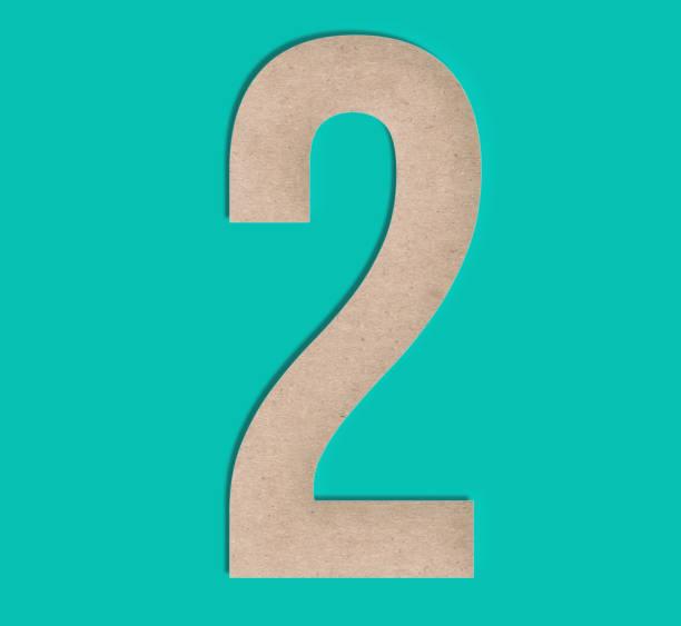 scherenschnitt nummer zwei 2 - 3d typografie stock-fotos und bilder