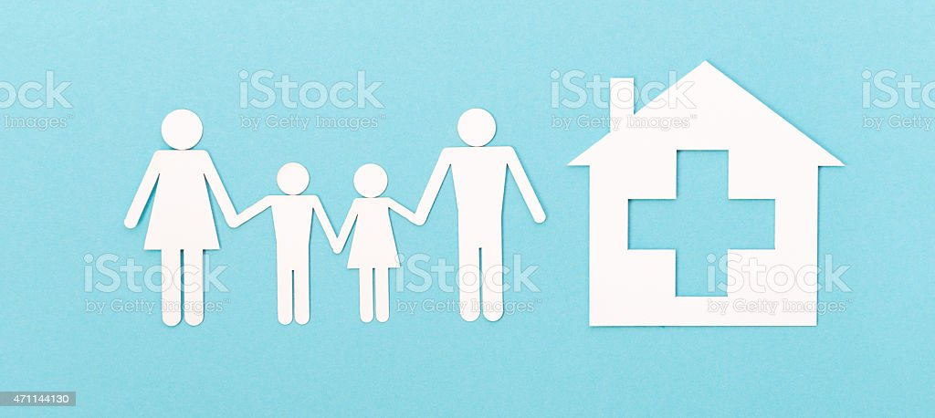 Paper Cut of  Healthy Family stock photo