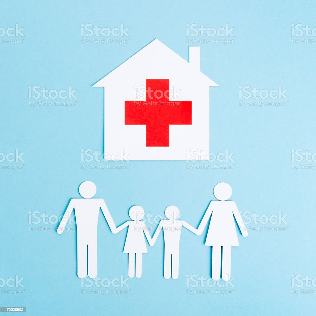 Paper Cut of  Helathy Family stock photo