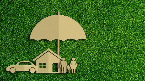 istock Paper cut of insurance concept on green grass background. Car insurance, life insurance, home insurance to protection by umbrella. 1178261521