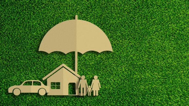 yeşil çim arka planda sigorta kavramının kağıt kesim. araba sigortası, hayat sigortası, şemsiye ile korunmak için ev sigortası. - insurance stok fotoğraflar ve resimler