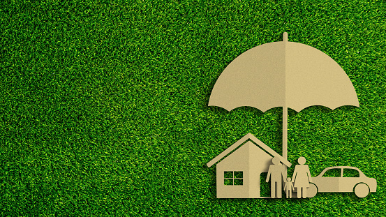 istock Paper cut of insurance concept on green grass background. Car insurance, life insurance, home insurance to protection by umbrella. 1178266474