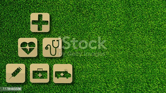 1029077176istockphoto Paper cut of medical and Insurance concepts on green grass background with copy space. 1178463336