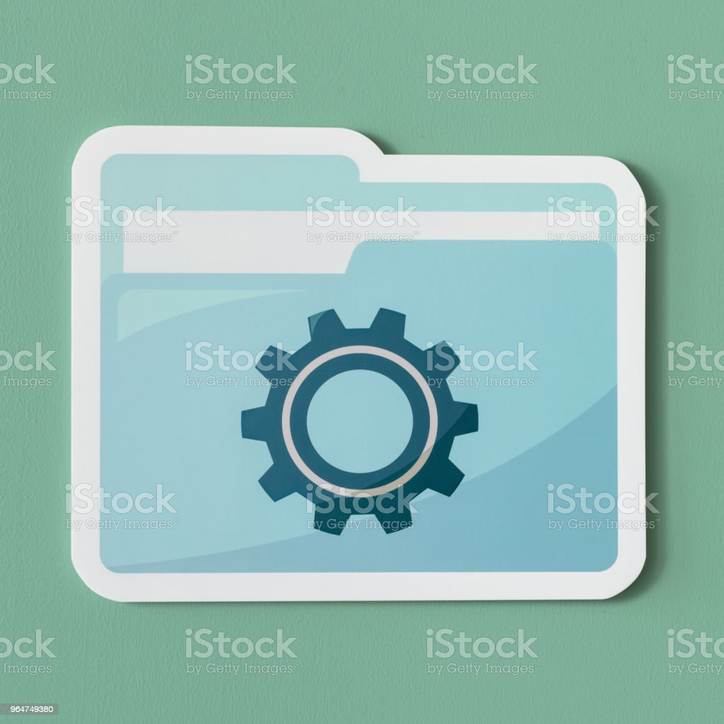 Paper cut out settings folder icon royalty-free stock photo
