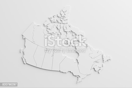 paper cutout national map of Canada with isolated background.The map source:https://www.cia.gov/library/publications/the-world-factbook/docs/refmaps.html, reedit with AI, and created the image with C4D.