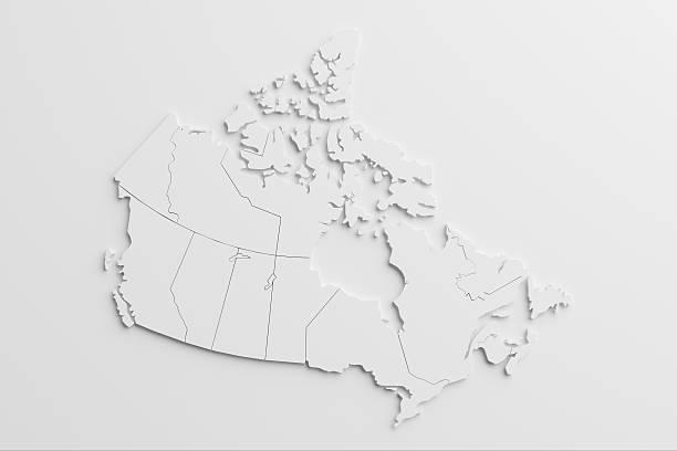 papier wycięcia national mapa kanada z puste tło - kanada zdjęcia i obrazy z banku zdjęć