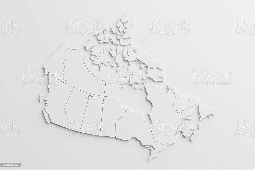 paper cutout national map of Canada with isolated background stock photo