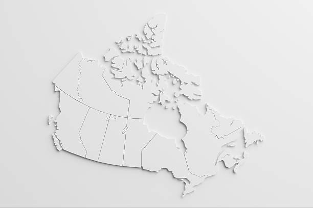 paper cutout national map of canada with isolated background - canada stockfoto's en -beelden