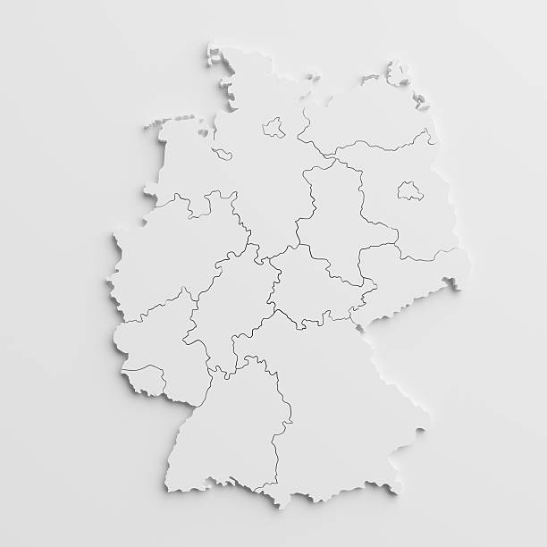 paper cutout national map of  Germany with isolated background stock photo