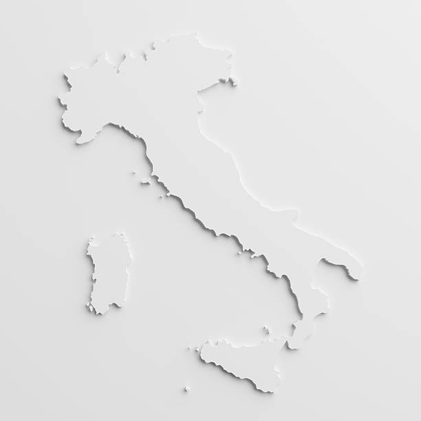 paper cutout national map of  italy with isolated background - italy map stock photos and pictures