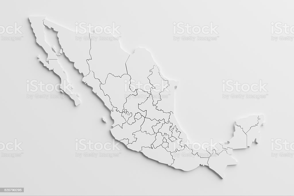 paper cutout national map of Mexico  with isolated background stock photo