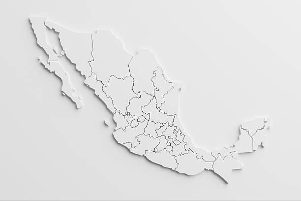 papier ausschnitt-karte von mexiko mit isolierten hintergrund - revierverhalten stock-fotos und bilder