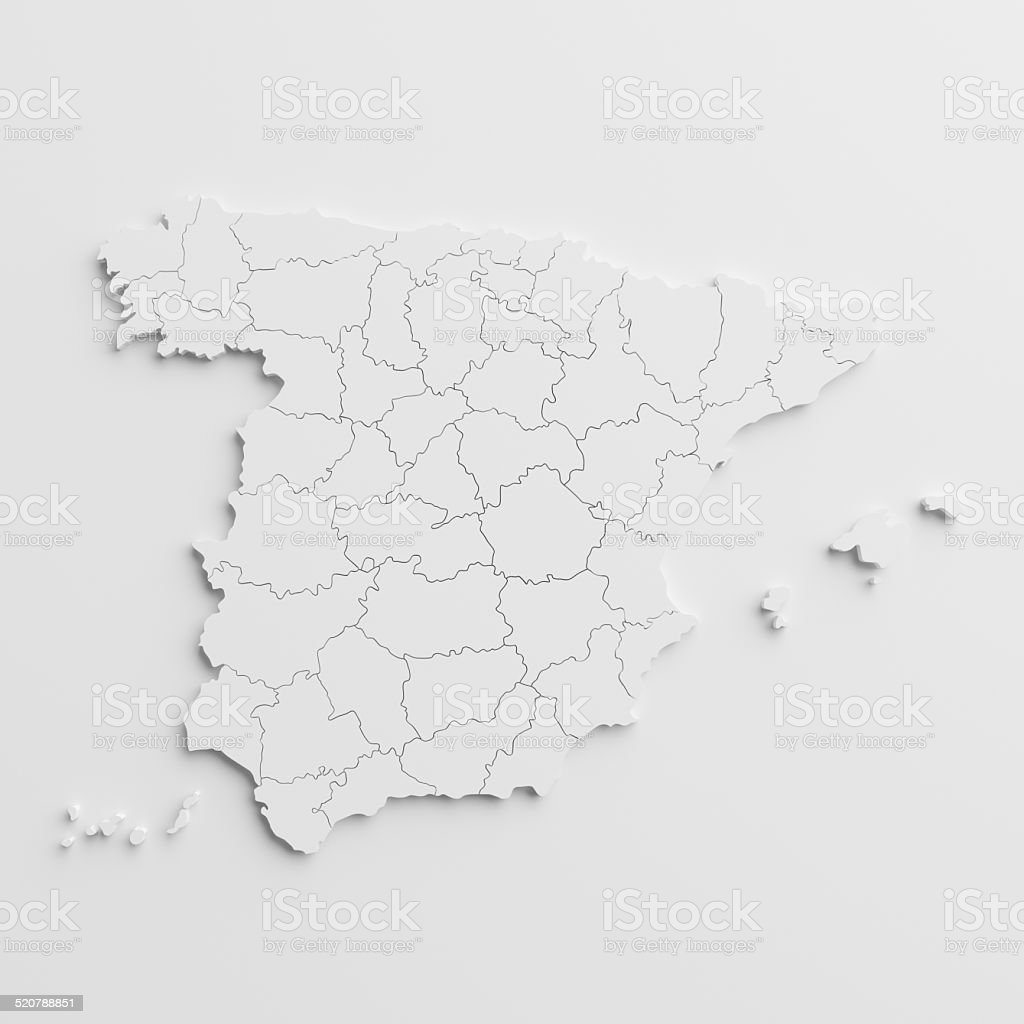 paper cutout national map of spain  with isolated background - Royalty-free Cartografie Stockfoto