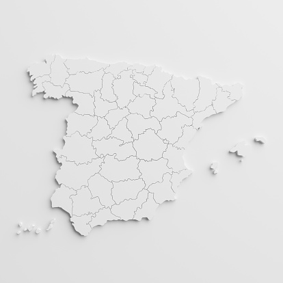 Paper Cutout National Map Of Spain With Isolated Background Stock Photo - Download Image Now