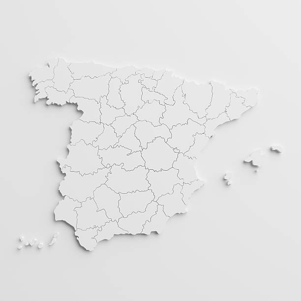 paper cutout national map of spain  with isolated background - spain stock pictures, royalty-free photos & images