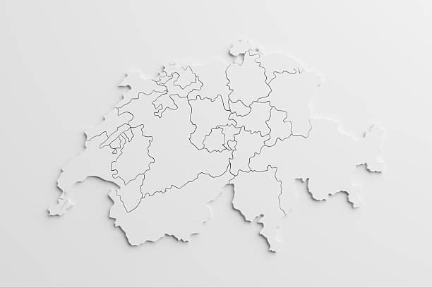 Papier Ausschnitt-Karte der Schweiz mit isolierten Hintergrund – Foto