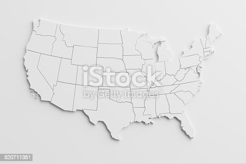 istock paper cutout national map of United States with isolated background 520711351