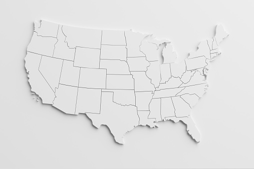 paper cutout national map of United States  with isolated background.The map source:https://www.cia.gov/library/publications/the-world-factbook/docs/refmaps.html, reedit with AI, and created the image with C4D.