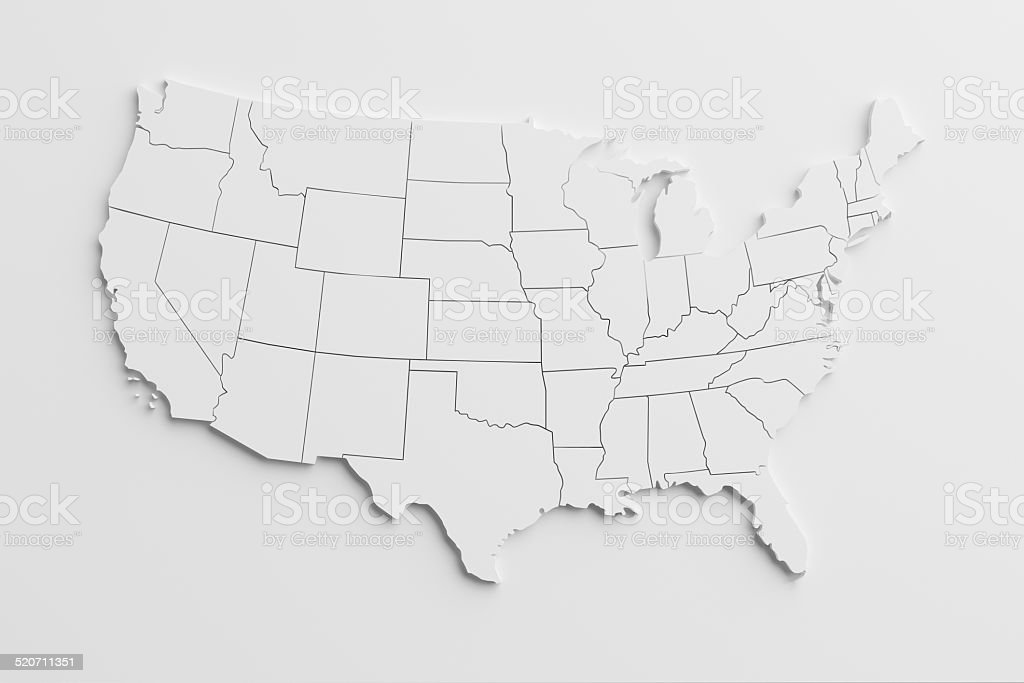 paper cutout national map of United States with isolated background stok fotoğrafı