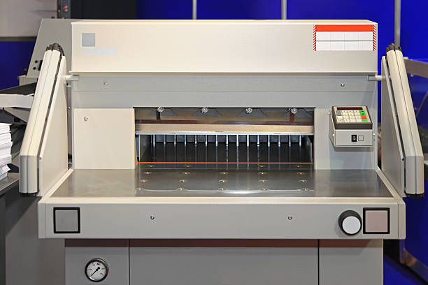 Paper cutting machine stock photo