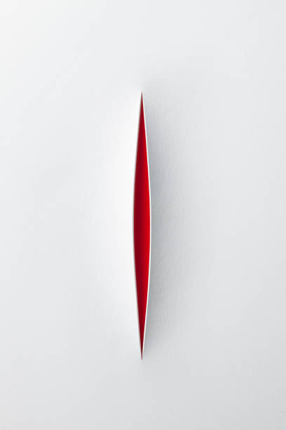 paper cutting - knife wound stock photos and pictures