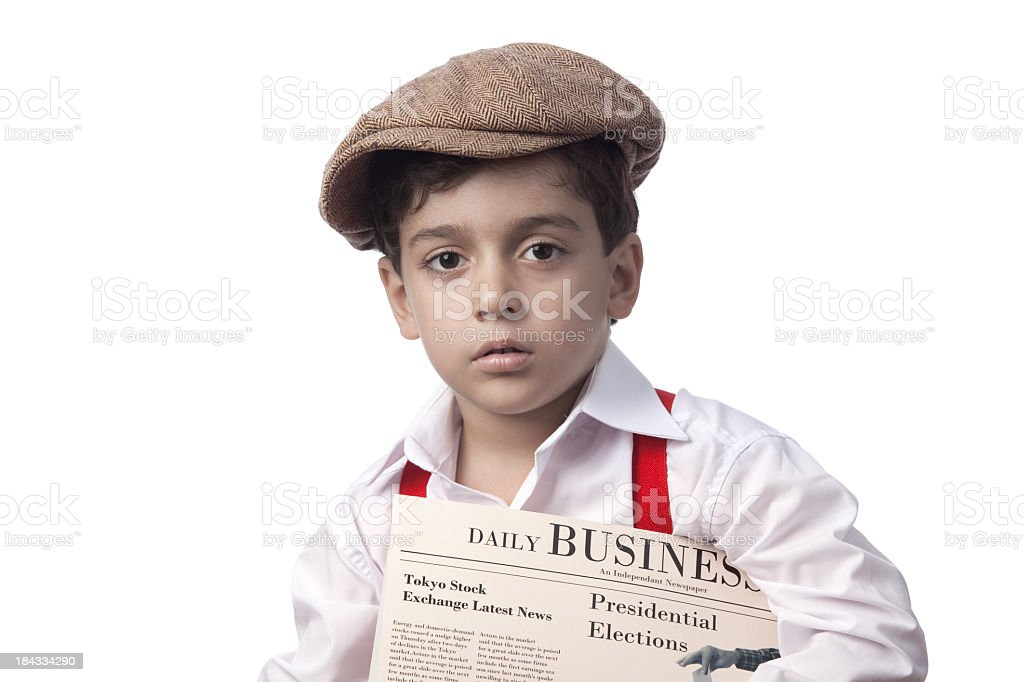 Paper delivery boy holding financial newspaper stock photo
