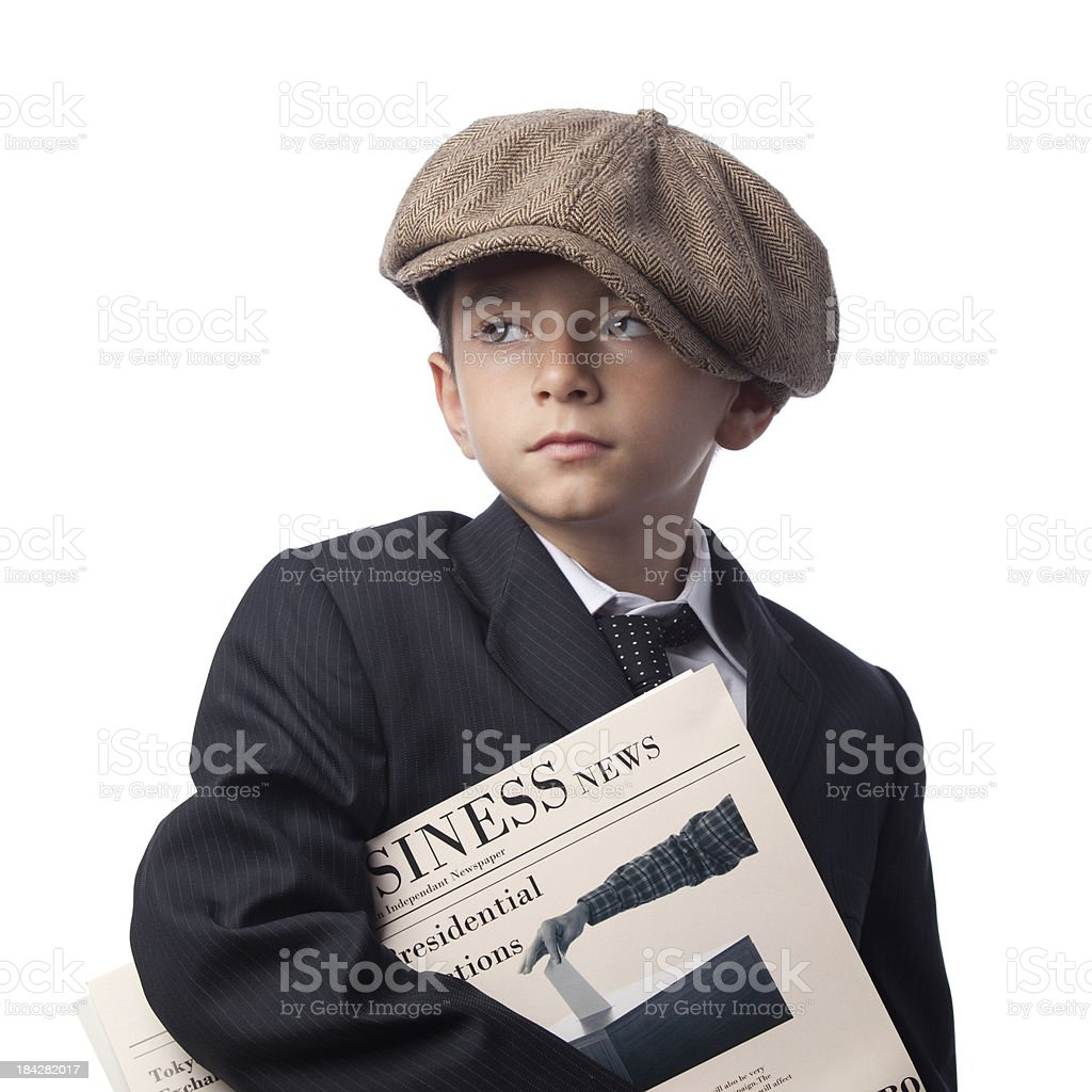 Paper Delivery Boy Holding Newspapers On White Background stock photo