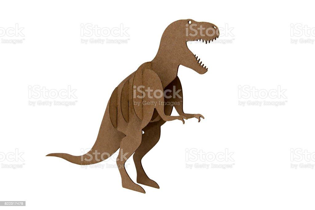 paper dinosaur toy isolated on white background stock photo