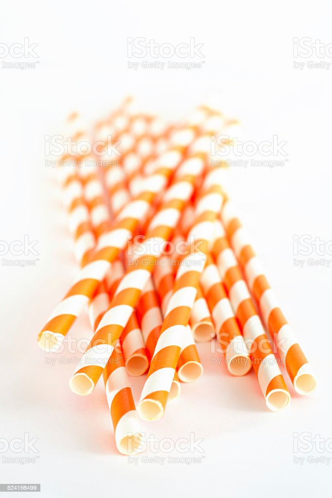 Paper drink straws on white background stock photo