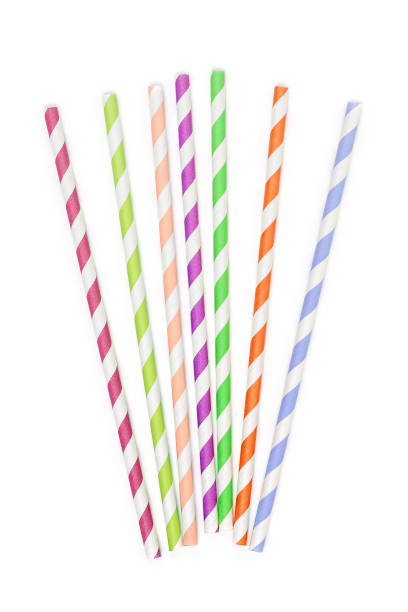 paper drinking straws colorful paper drinking straws on white drinking straw stock pictures, royalty-free photos & images