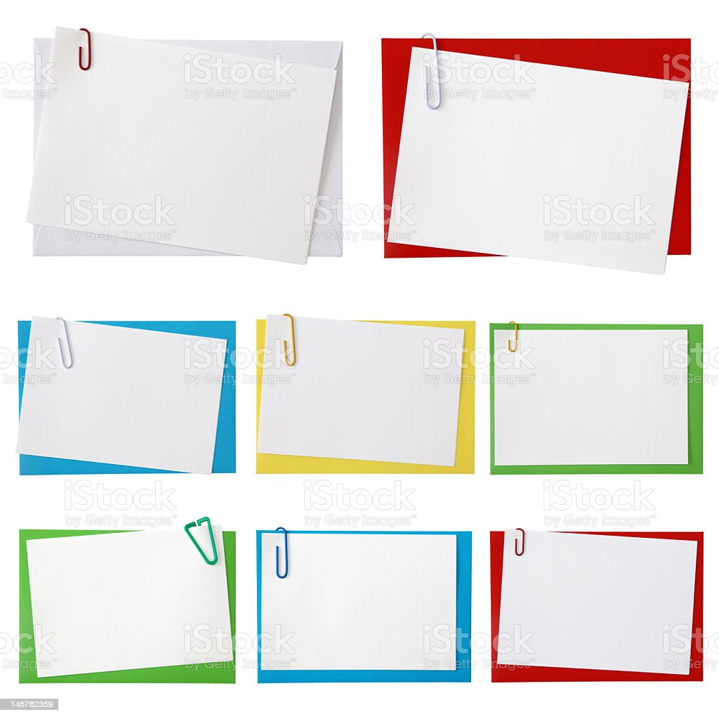 Paper envelopes in many colors stock photo