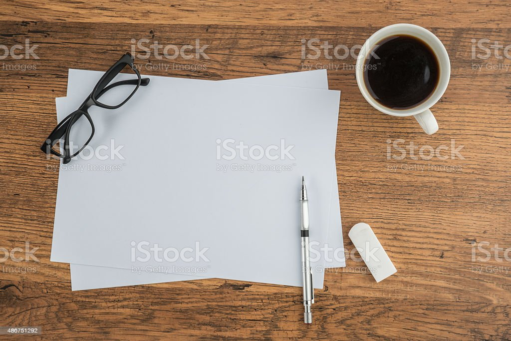 paper, Eraser Ruler glasses and drawing pen with coffee stock photo