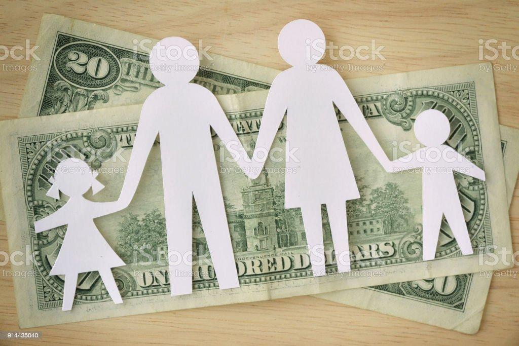 Famille de papier découpé sur les billets de dollars - notion de budget de famille - Photo