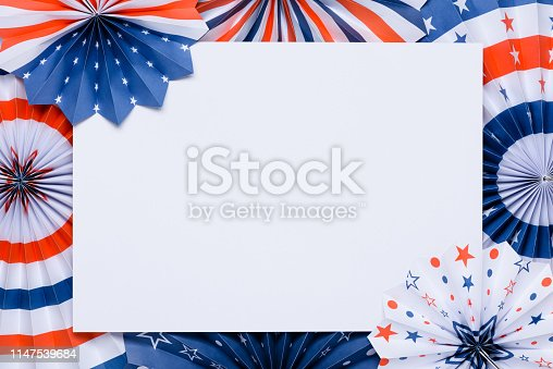 istock Paper fans stars USA Independence Day flag colors 1147539684