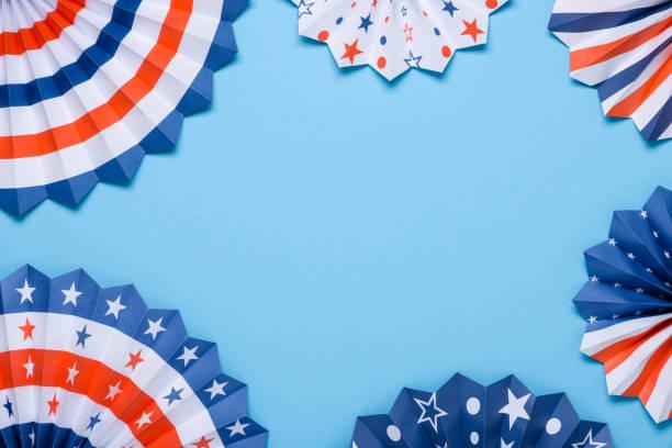paper fans stars usa independence day flag colors template. - happy 4th of july zdjęcia i obrazy z banku zdjęć