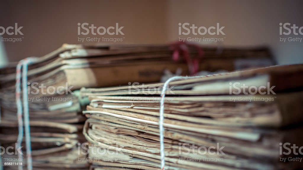 Paper files in a folder is a old documents or old letter stock photo