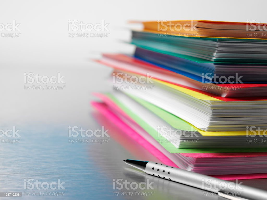 Paper Files on a Desk stock photo