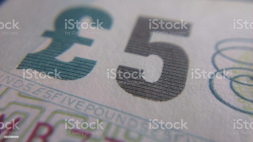 Paper Five Pound Note stock photo